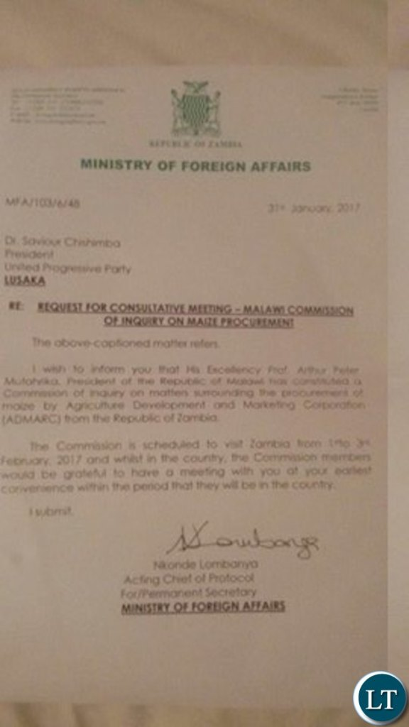 Ministry of Foreign Affairs Letter