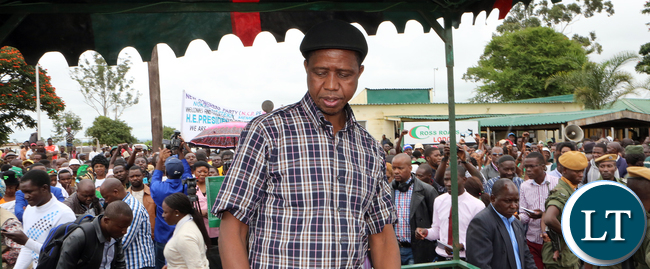 President Lungu arrive at Solwezi airport