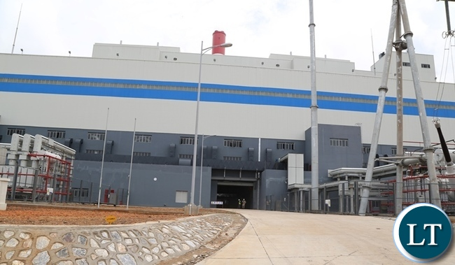 The front part of Maamba collieries thermal power plant , the plant is operating at full capacity in generating power.