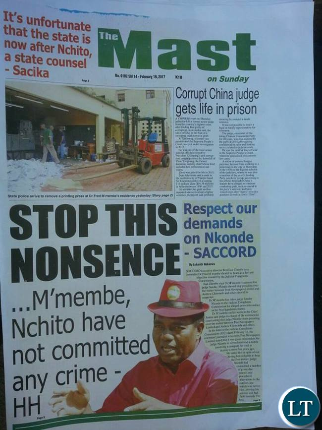 The Mast edition of Sunday, 19th February 2017
