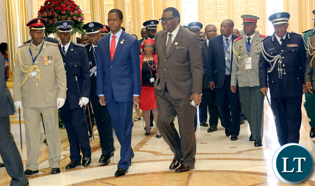 President Lungu with Namibian President at the  SADC Summitt