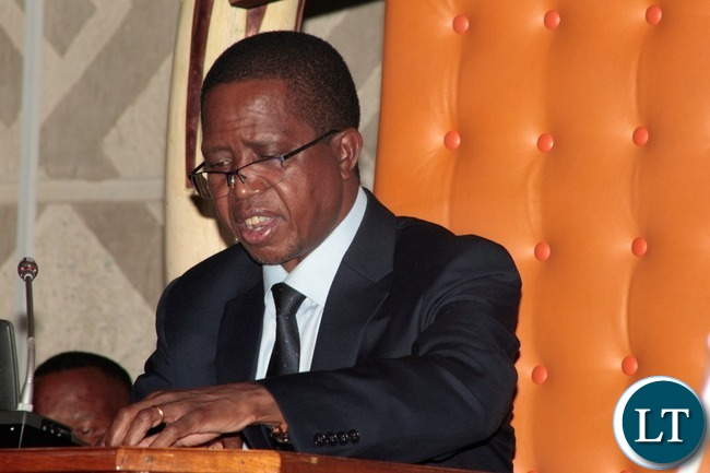 President Edgar Lungu addresing Zambians at National Assembly of Zambia during the Nation address on the application of Constitutional Values and Principles