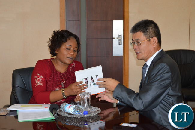 Chinese Ambassador to Zambia pays a courtesy call on Information and Broadcasting Minister and also Chief Government Spokesperson, Kampamba Mulenga at her office