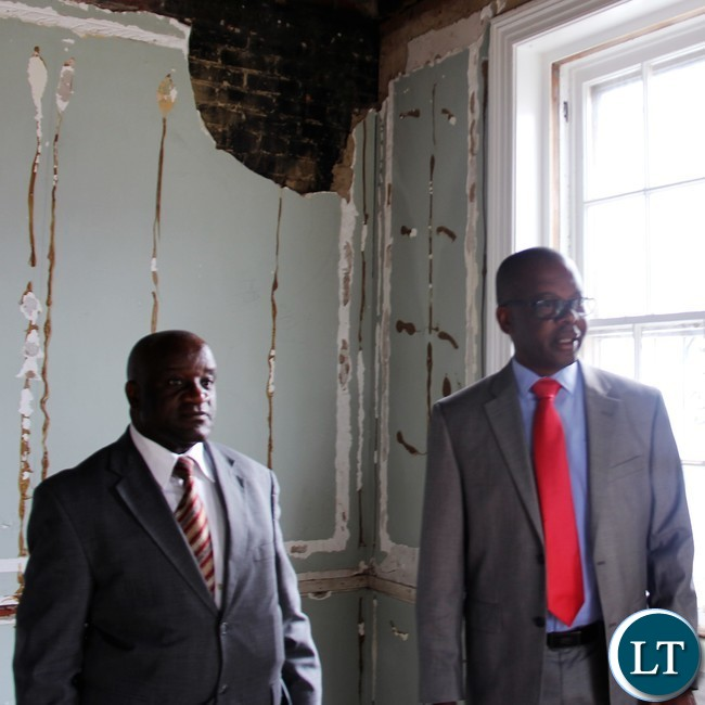Hon Nkhuwa accompanied Charge D'affaires James Chisenga on a tour of the old chancery building in Washington DC.