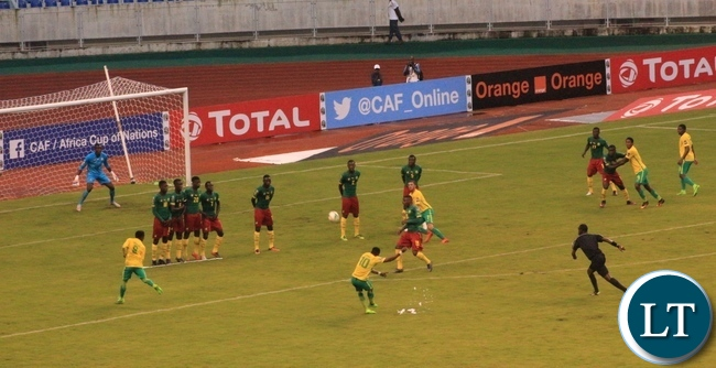 South Africa's Luther Singh takes a free kick that resulted into an equlising goal against Cameroon on Monday.