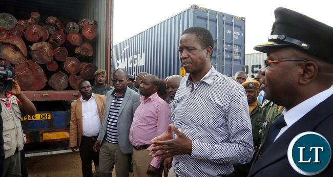 President Edgar Lungu Inspects Impounded trucks carrying Mukula Tree at Nakonde Border on monday 27-03-2017