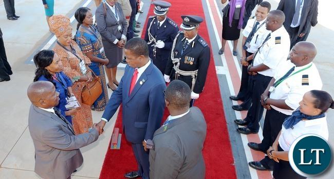 President Edgar Lungu Greets Ambassador Tembo at King Mswati III international airport for Lusaka