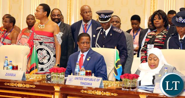 President Edgar Lungu at the SADC Summit at the SADC