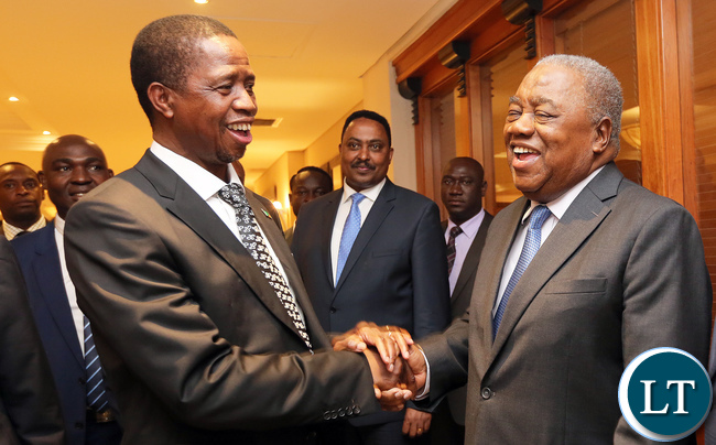 President Edgar Lungu (left) shares a light moment with fourth Republican President Mr Rupiah Bwezani Banda at the State Banquet held in honour of Ethiopia's Prime Minister Hailemariam Dessalegn om Wednesday at Pamodzi Hotel.