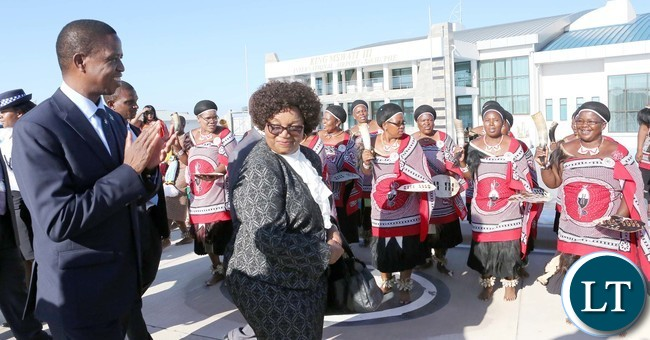 President Edgar Lungu with Senator Winnie Magaqula minister of Labour and Social Security in Swaziland Watch Traditional dancer