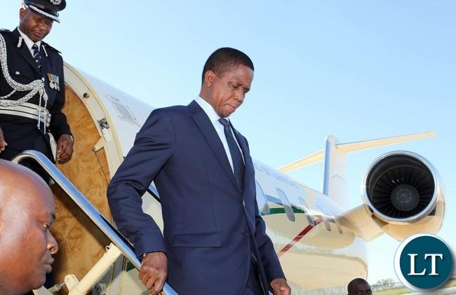 President LUngu arrive in Swaziland