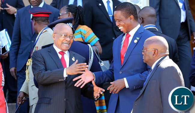 President Lungu with President Zuma at the SADC Summit In Swaziland
