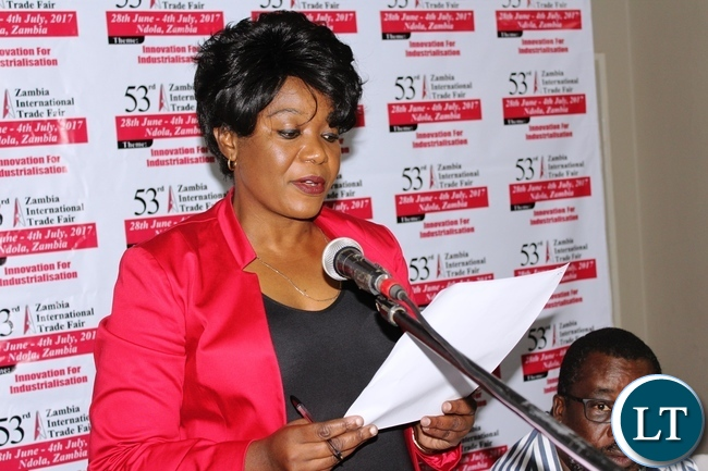 """Zambia International Trade Fair (ZITF) Board Chairperson, Monde Kabwela, opens the first Exhibitors meeting for the 2017 ZITF, which will be held in Ndola from June 29 to July 4 under the theme, """"Innovation for Industrialisation""""."""