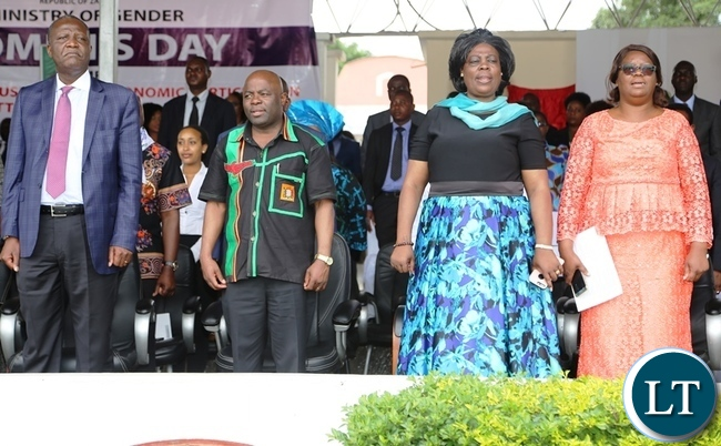 From (left) is finance Minister Felix Mutati , Home affairs Minister Stephen Kampyongo, Lands Minister Jean Kapata and Minister in the office of the vice President Silvia Chalikosa during the commemorations of this year's international women's day celebrations in the showgrounds in Lusaka . Picture by SUNDAY BWALYA /ZANIS