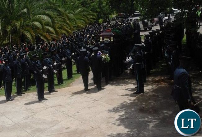 ZAF officers at the Cathedral of the Holy Spirit with Sergeant Choombwa's casket