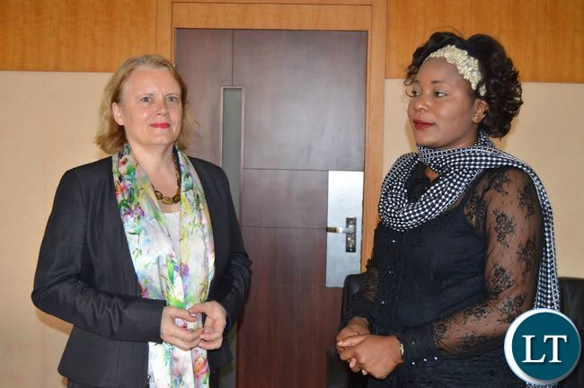 United Nations Resident Coordinator, Janet Rogan (Left) with Information & Broadcasting Services Minister Kampamba Mulenga in the Minister's office Last Wednesday. (Photo by LUU MACHILA - MIBS PR UNIT)