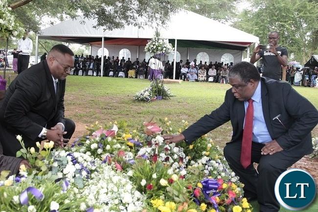 FORMER Press Aide, Richard Sakala(right) and Zambian High Commissioner to South Africa,Emmanuel Mwamba laying the wreath at Late Regina Chifunda Chiluba's grave in Lusaka