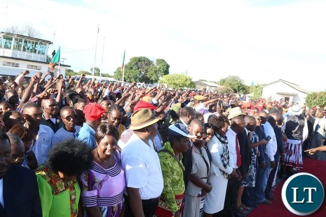 Mongu residents welcome President Edgar Lungu at Mongu airport