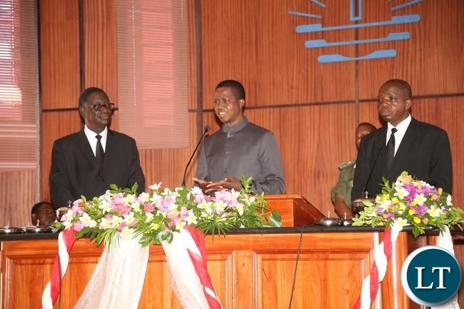 President Edgar Lungu (c) shares the word of God at New Apostolic Church Mongu Central