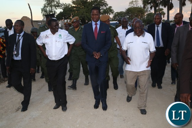 President Edgar Lungu (2nr) western Province Permanent Secretary Mwangala Liomba (2nl) and Special Assistance to the President for Political Kaiza Zulu (l) and the Induna (R) arrives at Lialui Palace in Mongu to pay courtesy call on the Litunga Imwiko ii