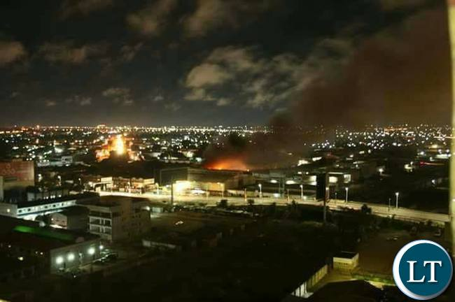 Aerial view of Kamwala Market on fire