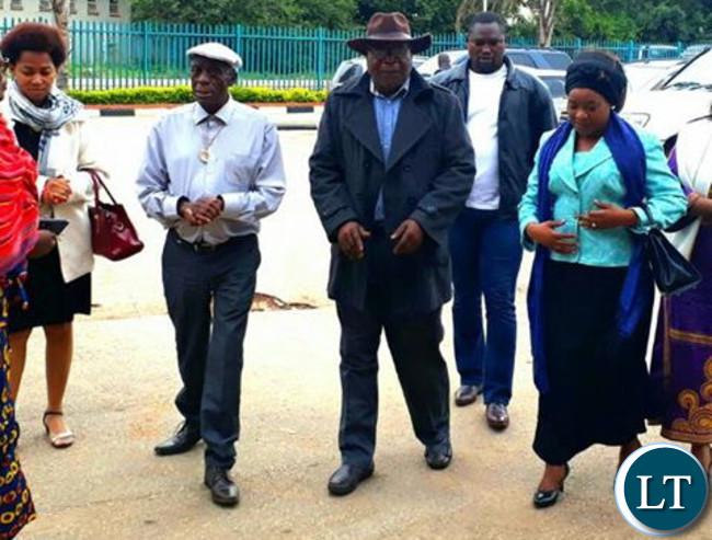 Mutinta Hichilema arriving at the Magistrate Court accompanied by Chiefs Mukuni and Hamusonde