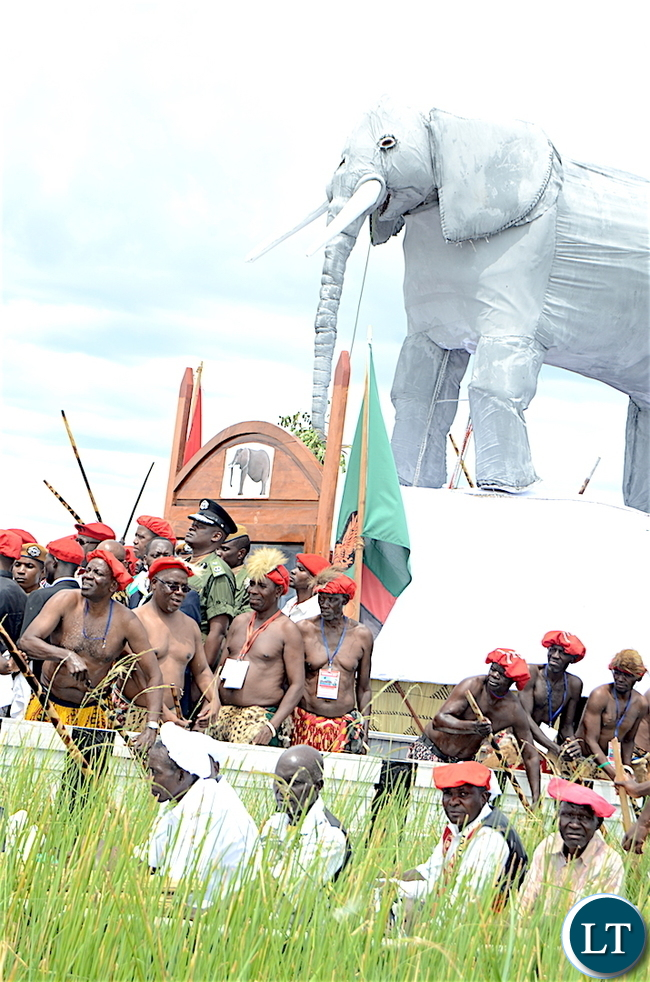 President Lungu during the Kuomboka traditional Ceremony in Mongu on Saturday,April 8,2017-Pictures by THOMAS NSAMA