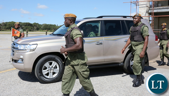 President Lungu arrive at ZAF City airport