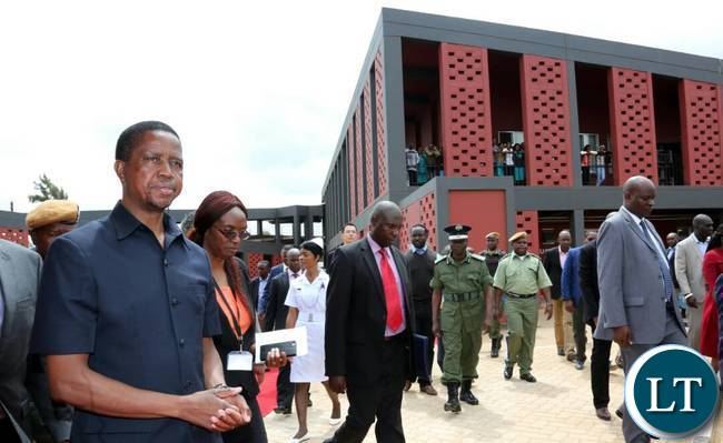 President Lungu on arrival at Chilenje Level 1 Hospita