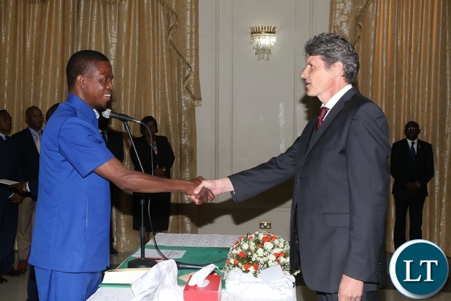 President Edgar Lungu congratulates Czech Republic Ambassador desegnet to Zambia Radek Rubes when he presented his credential at State House