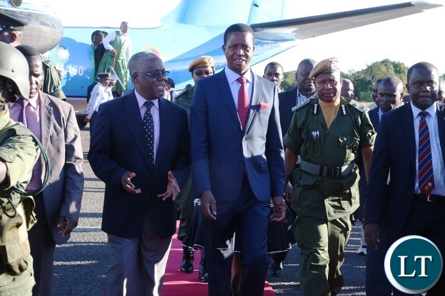 President Lungu and Western Province Minister Nathaniel Mubukwanu at Mongu airport on the Presidents arrival for Kuomboka Ceremony 2017