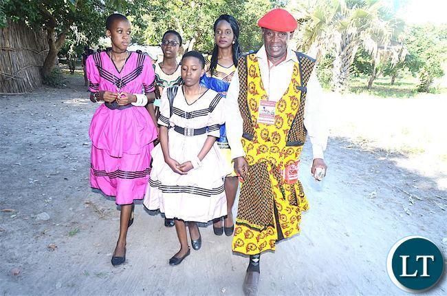 The Litunga's Children led by Induna Namuyamba during the Kuomboka traditional Ceremony in Mongu on Saturday, April 8,2017-Pictures by THOMAS NSAMA