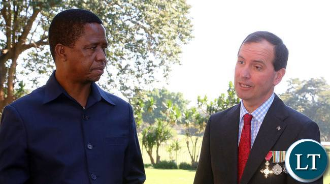 FILE: President Lungu with Fergus Cochrane-Dyet , British High Commissioner to Zambia at State House