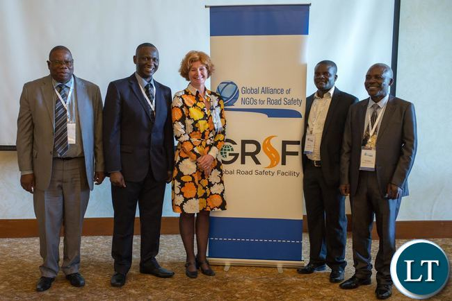 Photo from the Global Meeting of Nongovernmental Organizations Advocating for Road Safety and Road Victims convened in Kuala Lumpur, Malaysia. From left to Right – Edward Phiri (ZRST Secretary), Daniel Mwamba (ZRST Chairman), Lotte Brondum (Executive Director), Miles Mwale and Paul Mwanza (ZRST members). Photo taken by richardahlstrom.com.