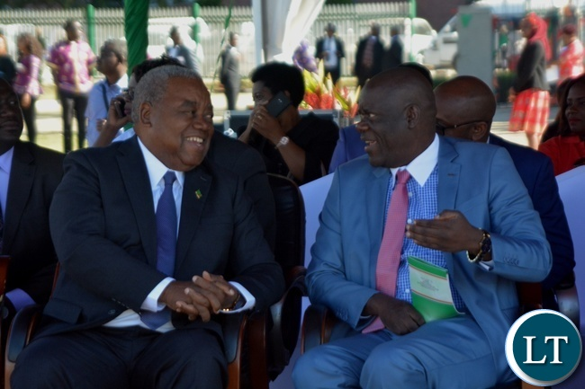 Fourth Republican President Rupiya Banda(l) confers with Patriotic Front Secretary General Davies Mwila(r) during the Labour Day Celebration in Lusaka yesterday,01052017.Picture by Ennie Kishiki/Zanis.
