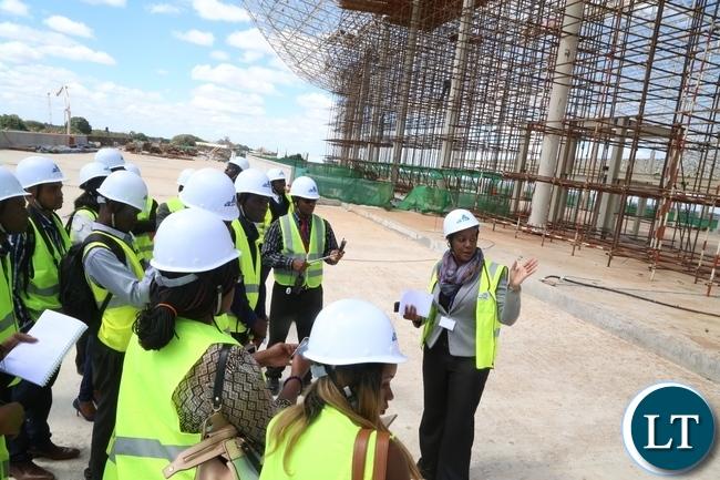 Mweembe Sikaulu KKIA Communications and Brand Manager taking to Journalists during the tour of Kenneth Kaunda International Airport