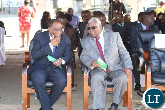 Secretary to Cabinet Roland Msiska and his Deputy Patrick Kasonde at the 2017 Labour Day Celebration at Freedom Statue yesterday 01-05-2017. Picture by ROYD SIBAJENE/ZANIS
