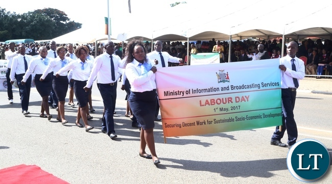 Ministry of Information and Broadcasting workers marching during 2017 Labour Day Celebration at Freedom Statue yesterday 01-05-2017. Picture by ROYD SIBAJENE/ZANIS