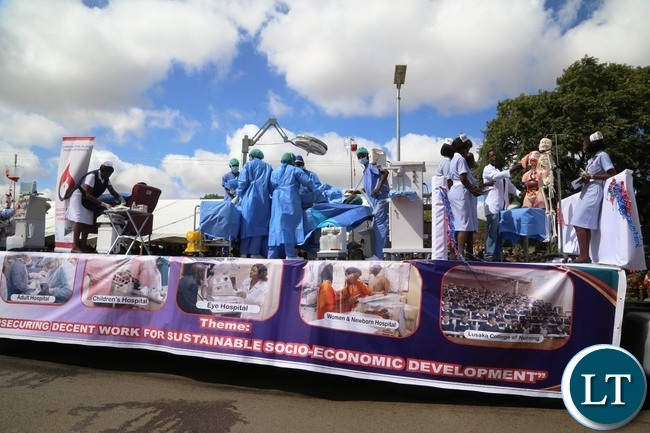 Ministry of Health workers demonstrates during 2017 Labour Day Celebration at Freedom Statue yesterday 01-05-2017. Picture by ROYD SIBAJENE/ZANIS