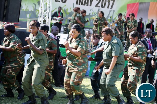?Defence force choir during the investiture ceremony to mark the 54th Africa Freedom Day commemoration at State House in Lusaka on Thursday, 25th May, 2017-Picture by Thomas Nsama.