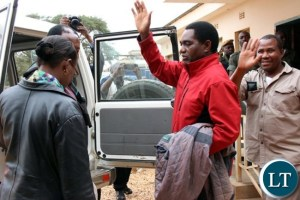 UPND President Hakainde Hichilema leaving the court