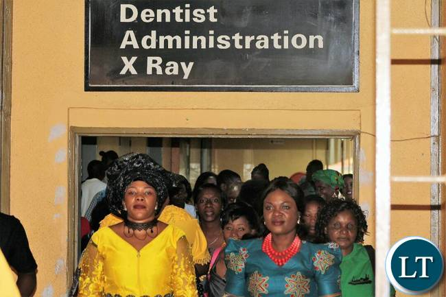 Mrs Lusambo with Wives of Ndola Leaders arriving at the Hospital