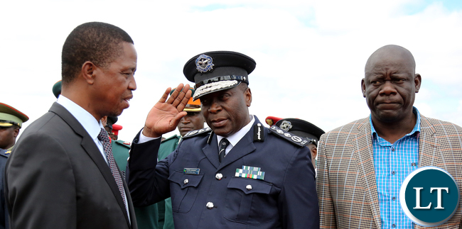 President Edgar Lungu greets the IG Mr Kanagnja at KK international airport in Lusaka