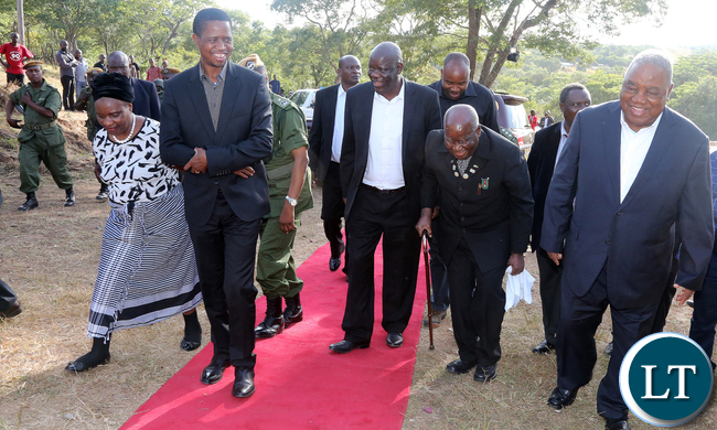 resident Edgar Lungu with Dr Kaunda and Mr Rupiah Banda at Kapwepwe funeral