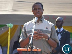 Republican President Edgar Lungu at the induction Church service of Reverend Westone Simwinga of Twapia United Church of Zambia (UCZ) Congregation.