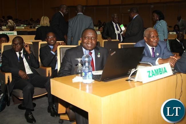 Minister of foreign Affairs Harry Kalaba and Ugandan Foreign Affairs Minister Sam Kahamba Kutesa at the official opening of the African Union Executive Council meeting in Addis Ababa Ethiopia.