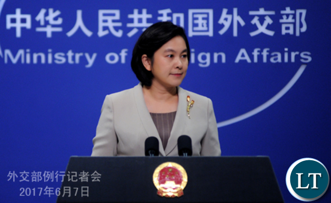 Chinese Foreign Ministry Spokesperson Hua Chunying speaking during a press briefing