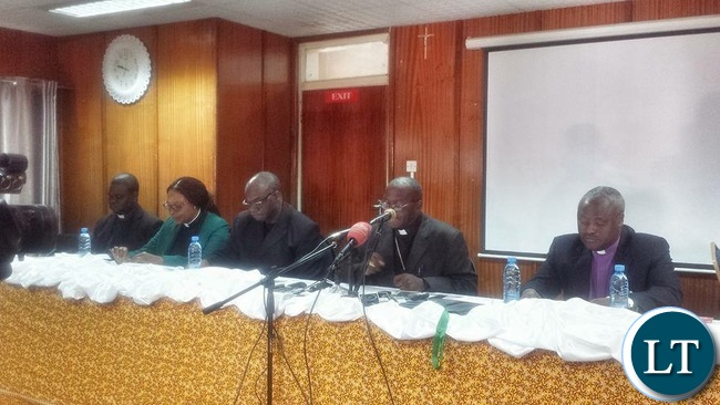 Lusaka Catholic Archbishop Telesphore Mpundu at a media briefing