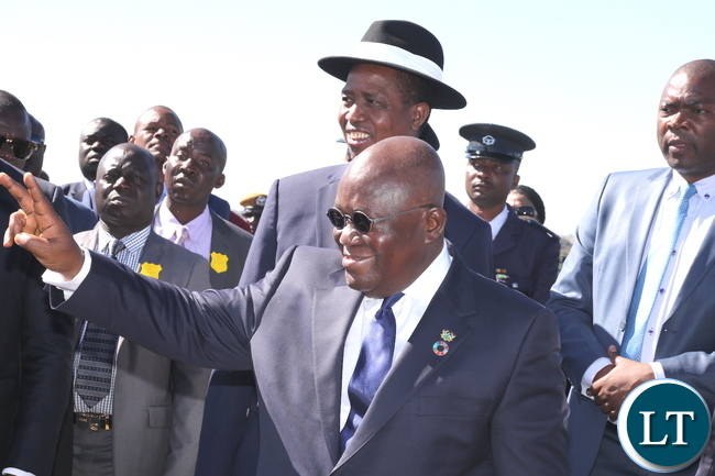 Ghanaian Counterpart Akufo Addo with President Edgar Lungu when he arrived in Ndola for the Official opening of the Zambia International Trade Fair on Thursday, June 29,2017-Pictures by THOMAS NSAMA