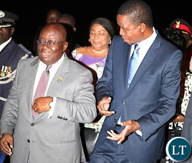 President Lungu with his Ghanian Counterpart  Akufo-Addo when he arrived  for a three day State visit on Monday, June 26,2017-Picures by THOMAS NSAMA